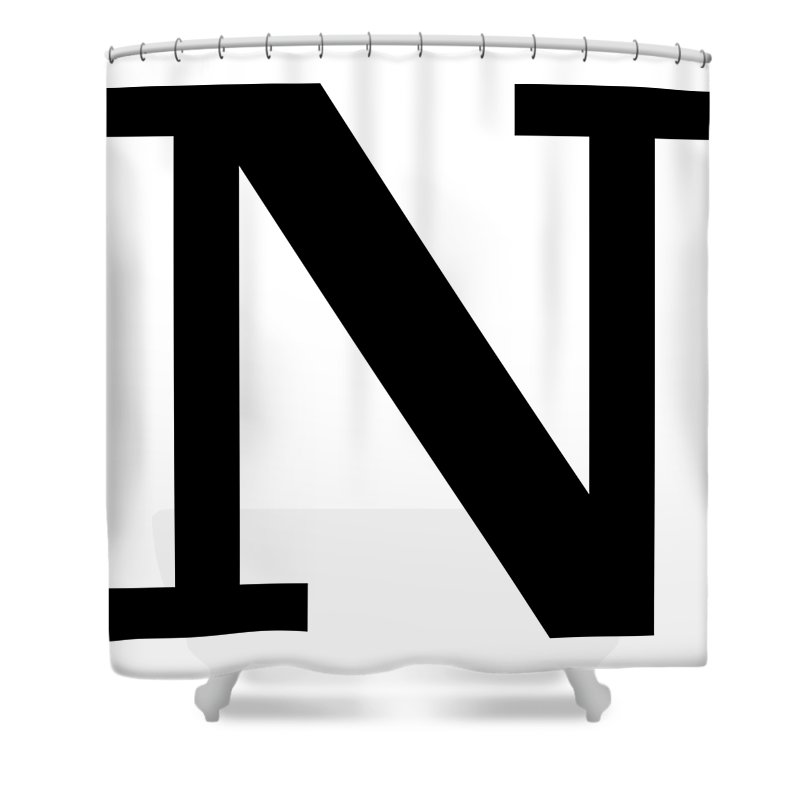 N Shower Curtain featuring the digital art N In Black Typewriter Style by Custom Home Fashions