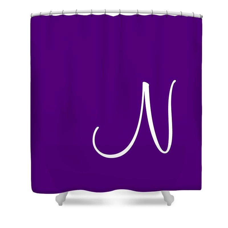 N Shower Curtain featuring the digital art N In White Simple Script by Custom Home Fashions