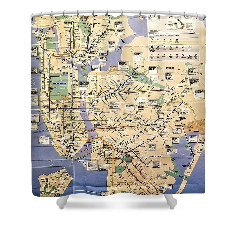 New York City Shower Curtain featuring the photograph N Y C Subway Map by Rob Hans