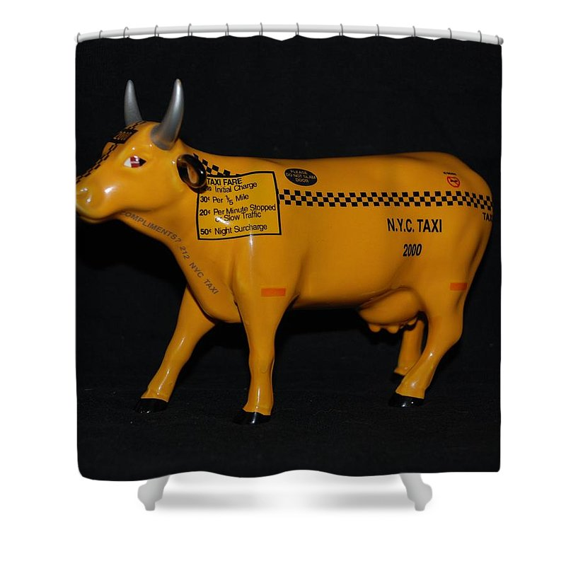 Macro Shower Curtain featuring the photograph N Y C Taxi Cow by Rob Hans
