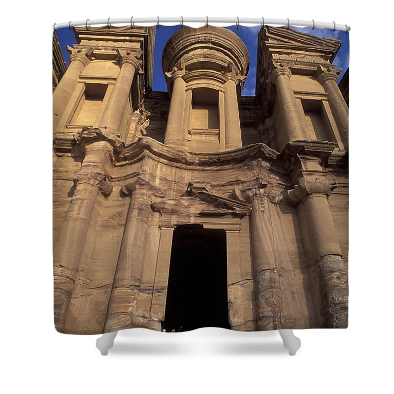 Petra Shower Curtain featuring the photograph Nabataean Traders Stand In The Doorway by Richard Nowitz
