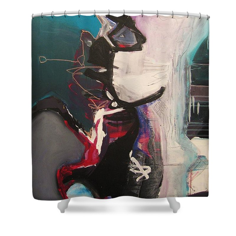 Abstract Art Paintings Shower Curtain featuring the painting Nagging Voice by Seon-Jeong Kim