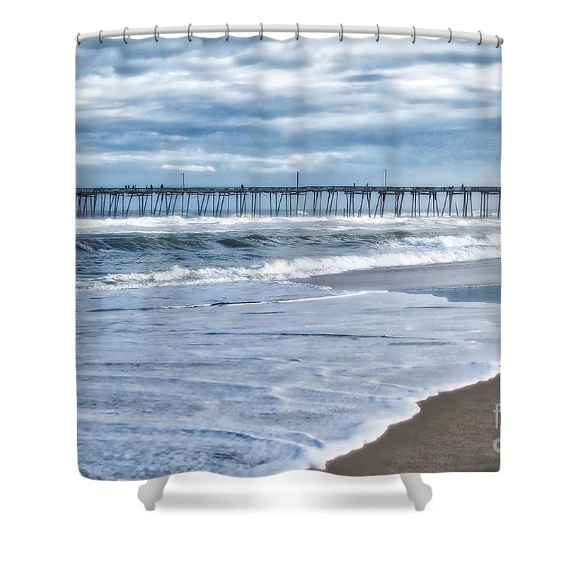 Nags Head Shower Curtain featuring the photograph Nags Head Fishing Pier by Karin Everhart