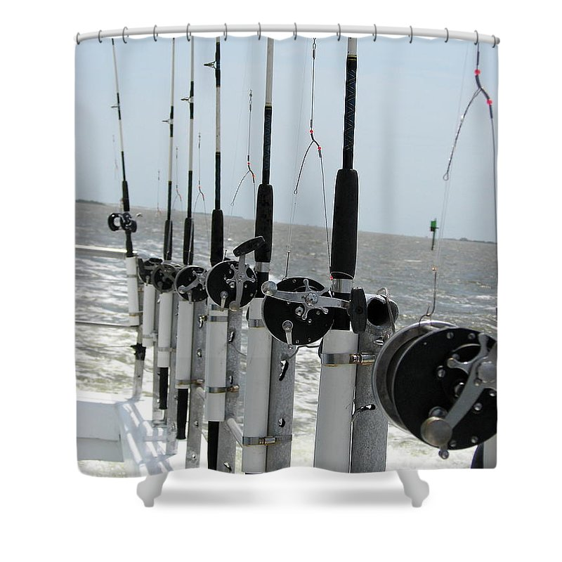 Nags Head Shower Curtain featuring the photograph Nags Head Nc Fishing Poles by Brett Winn
