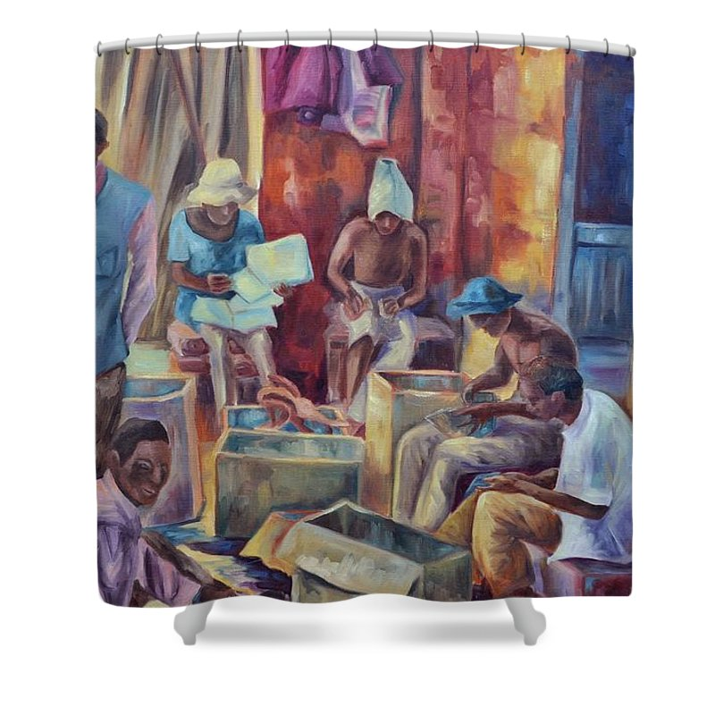 Nairobi Figures Shower Curtain featuring the painting Nairobi Woodcarvers by Ginger Concepcion