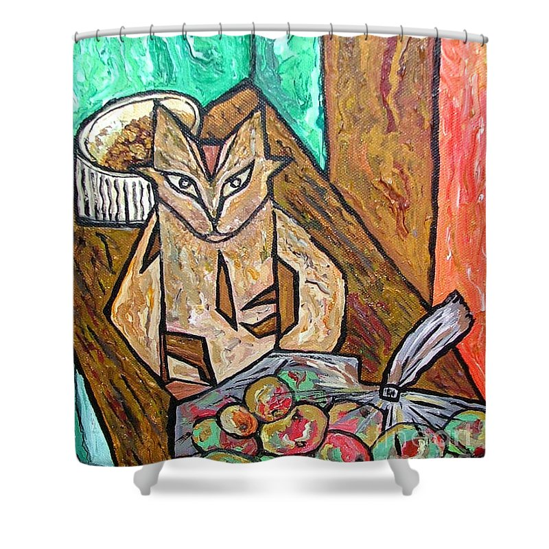 Cat Shower Curtain featuring the painting Naive Cat With Apples by Heather Lennox