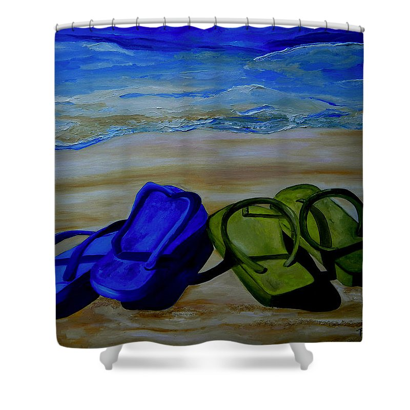 Flip Flops Shower Curtain featuring the painting Naked Feet On The Beach by Patti Schermerhorn