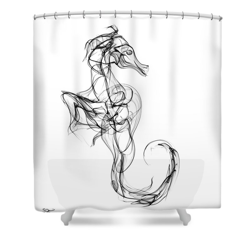 Seahorse Shower Curtain Featuring The Digital Art Naked By Abstract Angel Artist Stephen K