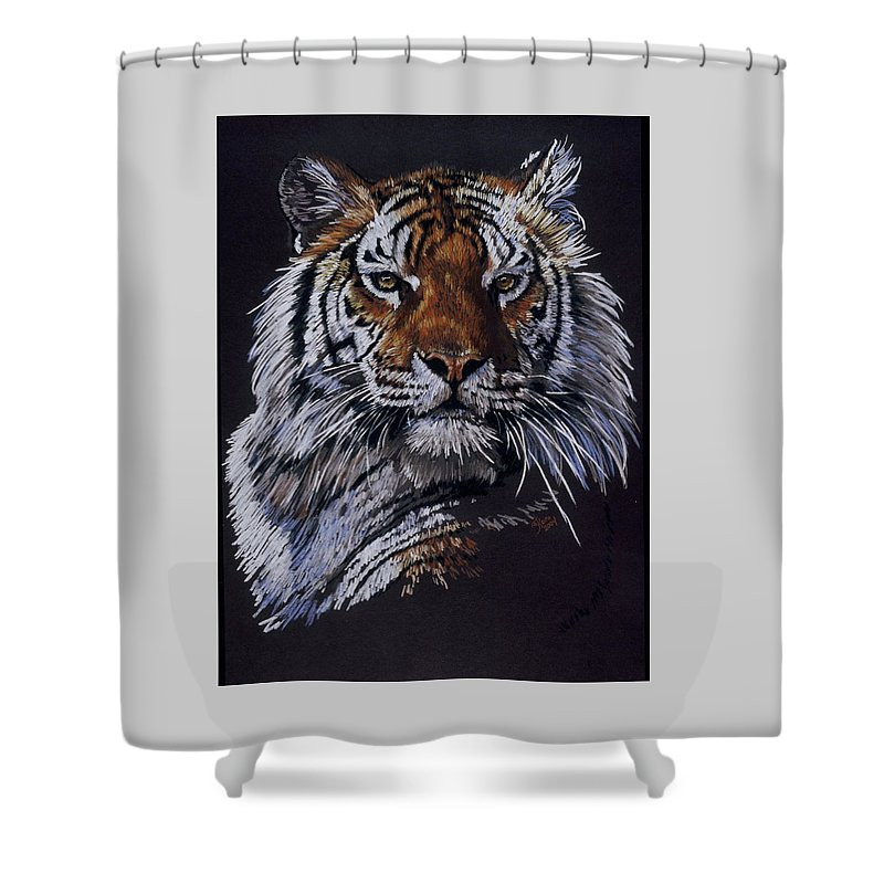Tiger Shower Curtain featuring the drawing Nakita by Barbara Keith