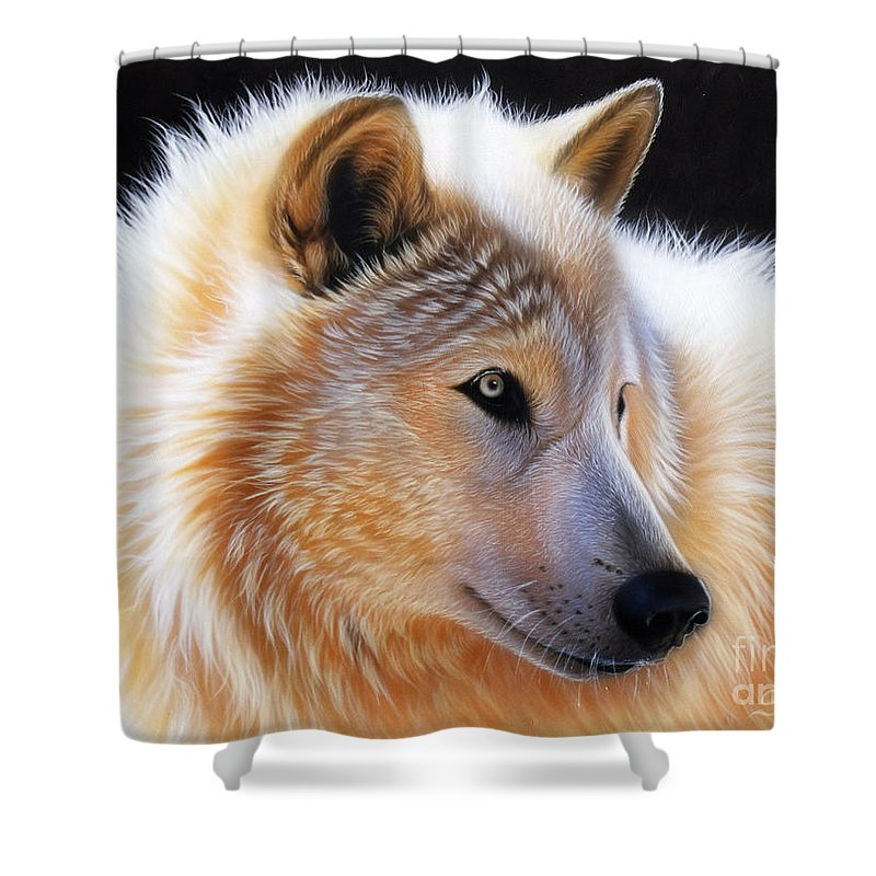 Acrylic Shower Curtain featuring the painting Nala by Sandi Baker