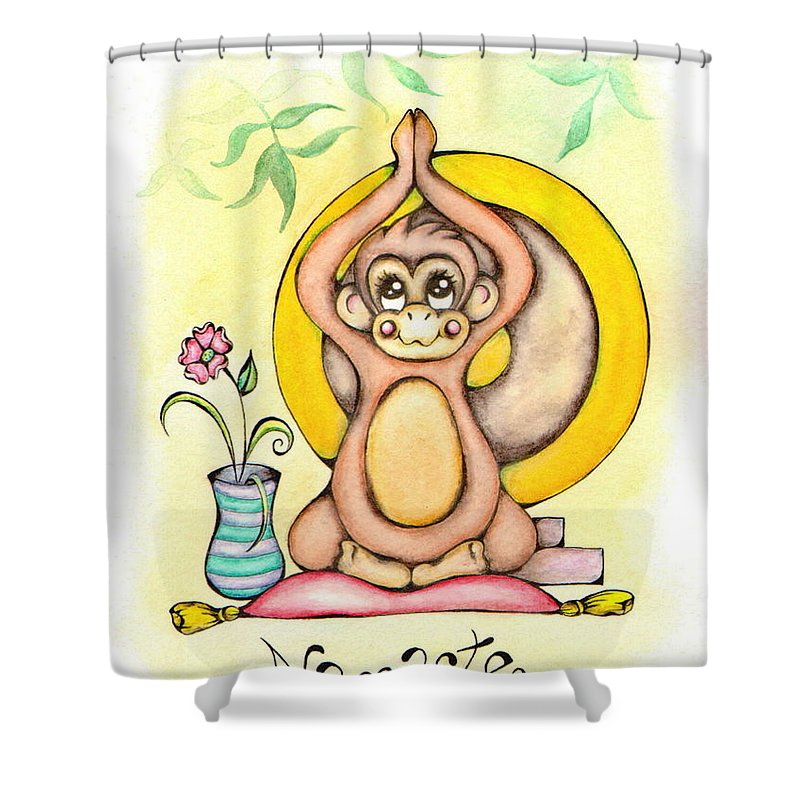 Yoga Shower Curtain Featuring The Mixed Media Namaste Monkey By Adrienne Allen