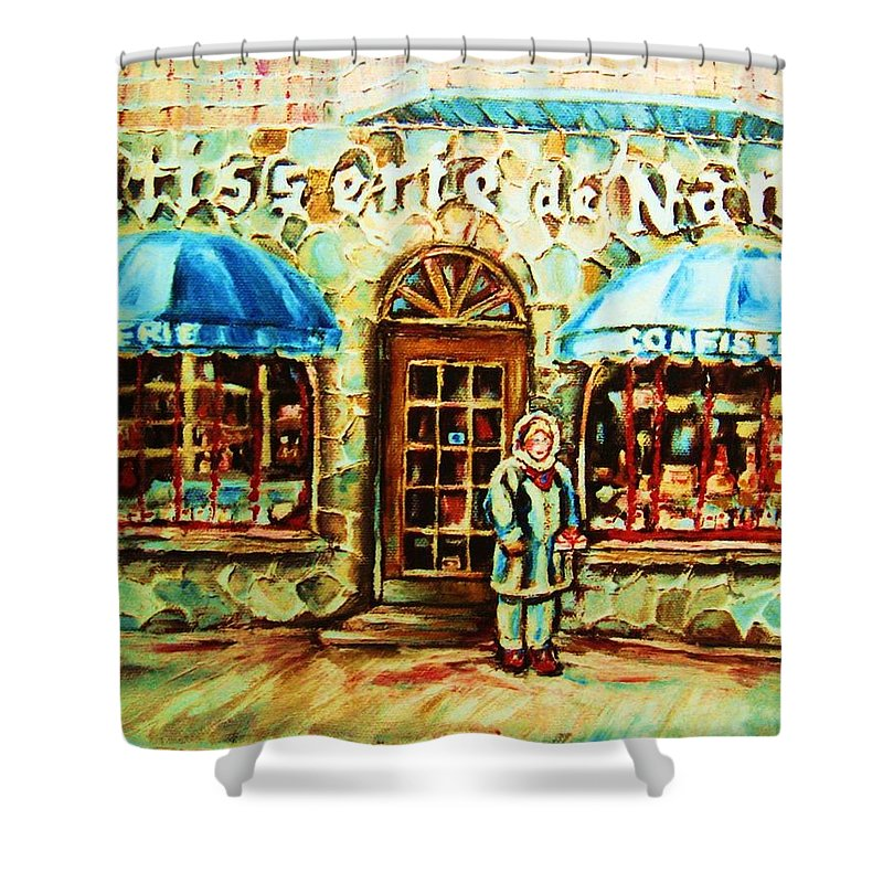 Bakery Shops Shower Curtain featuring the painting Nancys Fine Pastries by Carole Spandau
