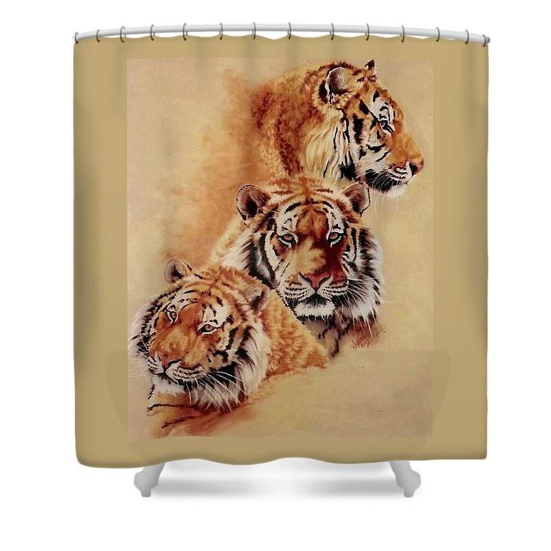 Tiger Shower Curtain featuring the pastel Nanook by Barbara Keith