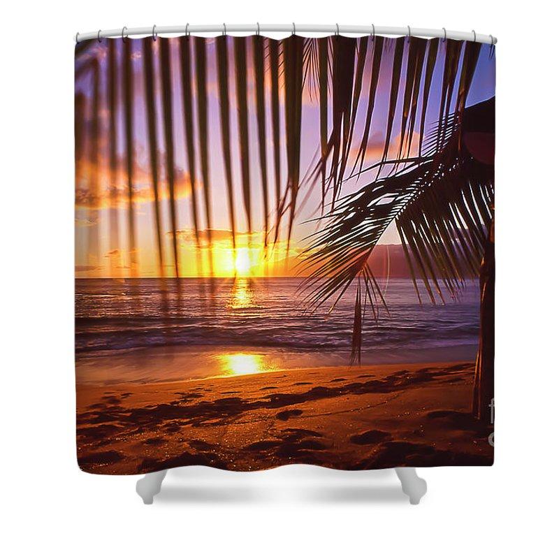 Sunset Shower Curtain featuring the photograph Napili Bay Sunset Maui Hawaii by Jim Cazel