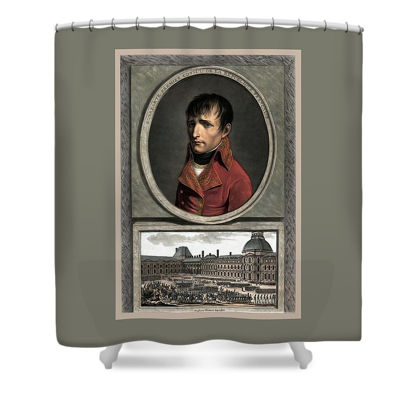 Napoleon Shower Curtain featuring the painting Napoleon Bonaparte And Troop Review by War Is Hell Store