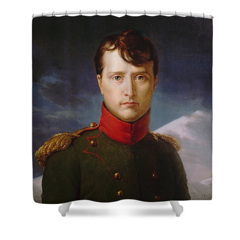 Napoleon Shower Curtain featuring the painting Napoleon Bonaparte Premier Consul by War Is Hell Store