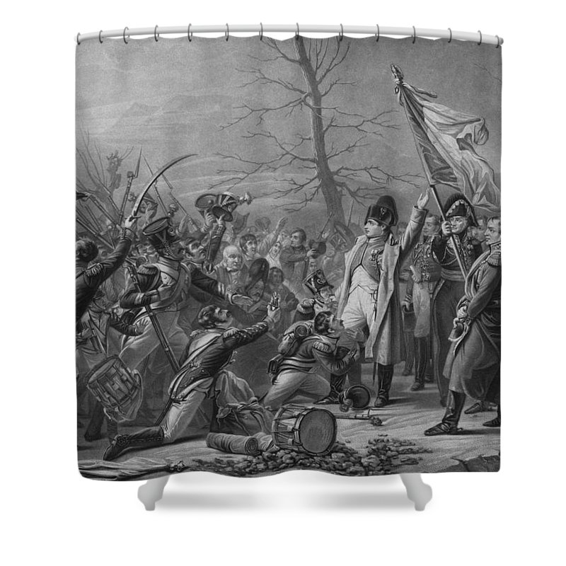 Napoleon Shower Curtain featuring the mixed media Napoleon Returns From Elba by War Is Hell Store