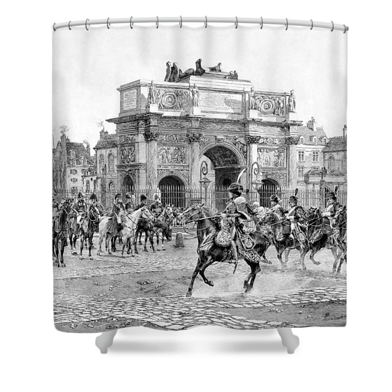 Napoleon Shower Curtain featuring the drawing Napoleon Reviewing His Troops by War Is Hell Store
