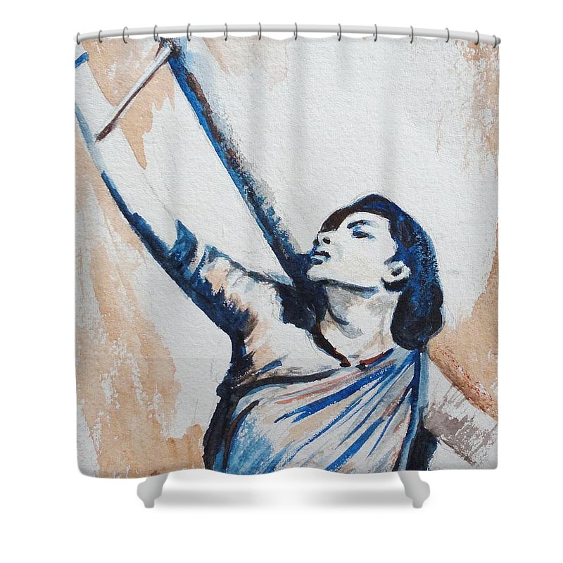 Shower Curtain featuring the painting Nargis Bollywood Star by Usha Shantharam