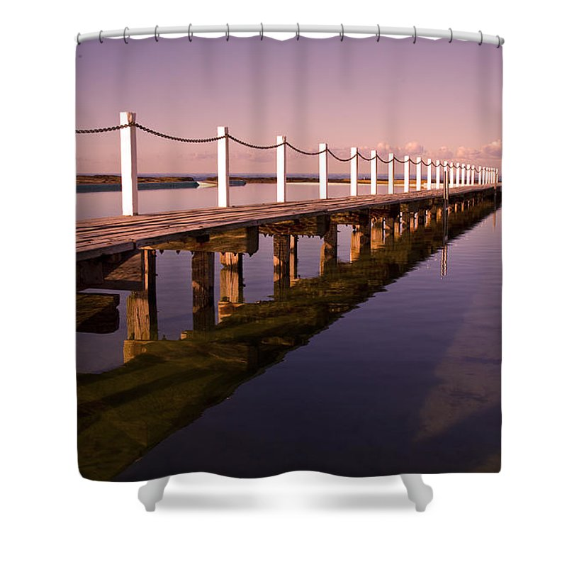 Narrabeen Sydney Sunrise Wharf Walkway Shower Curtain featuring the photograph Narrabeen Sunrise by Avalon Fine Art Photography