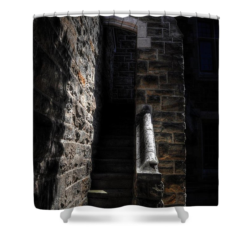 Cranbrook Shower Curtain featuring the photograph Narrow Staircase by Chris Fleming