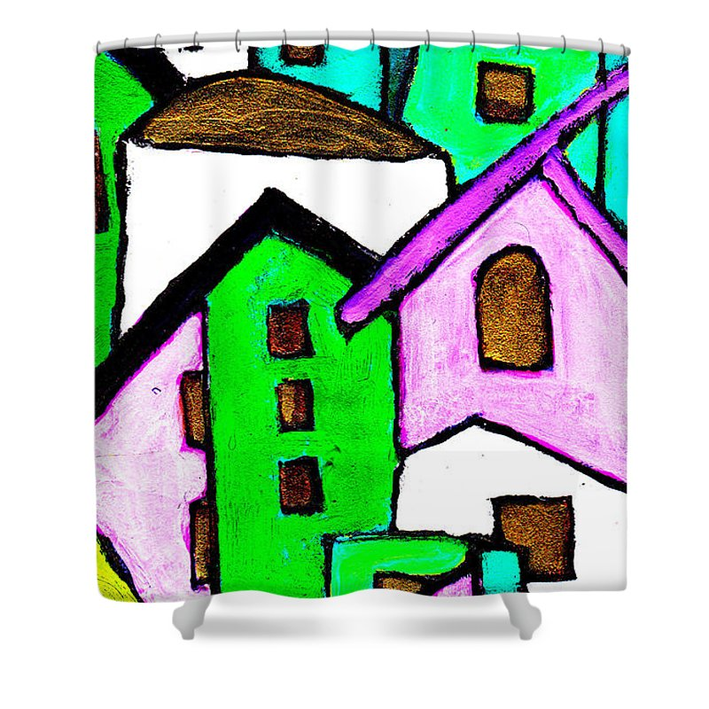 Village Shower Curtain featuring the painting Narrow Village by Wayne Potrafka