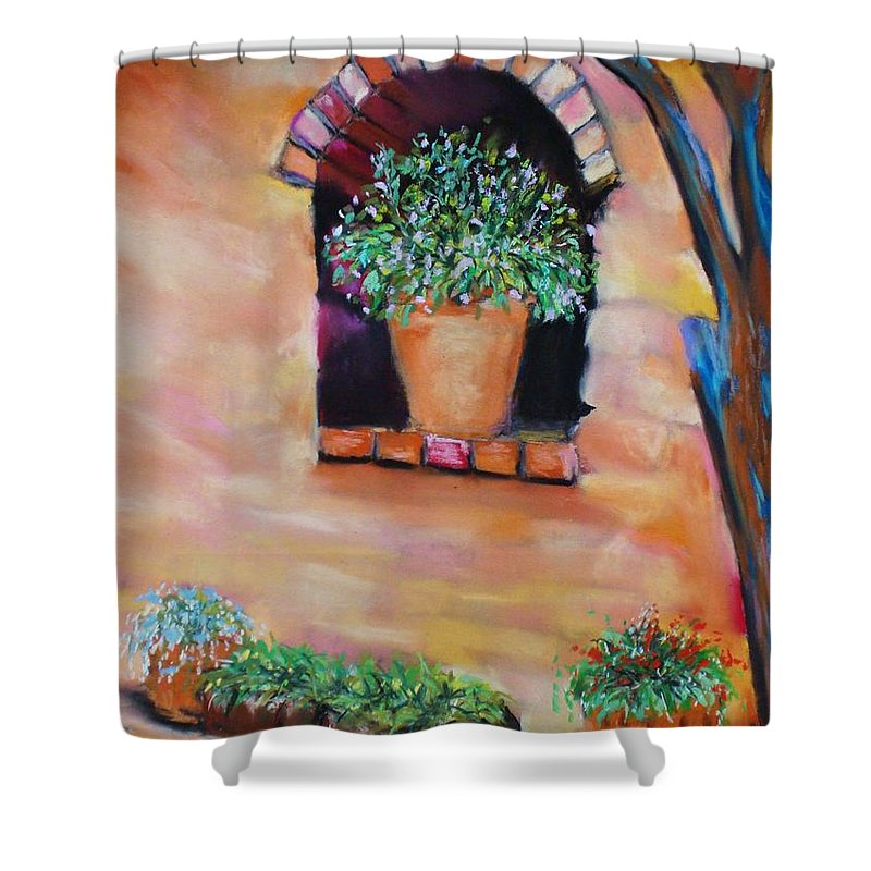 Courtyard Shower Curtain featuring the painting Nash's Courtyard by Melinda Etzold