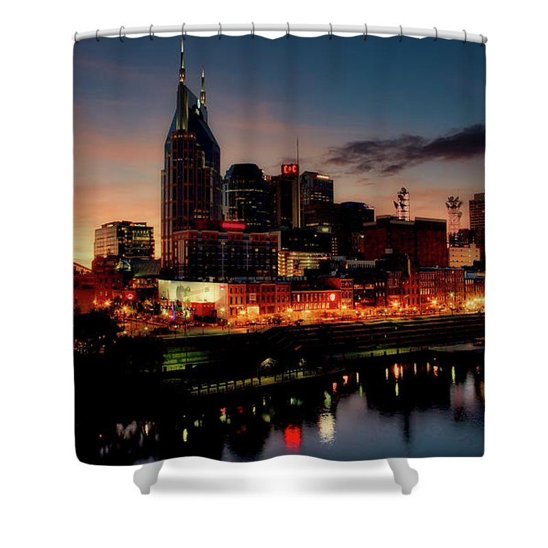 Nashville Shower Curtain featuring the photograph Nashville At Sunset by Mountain Dreams