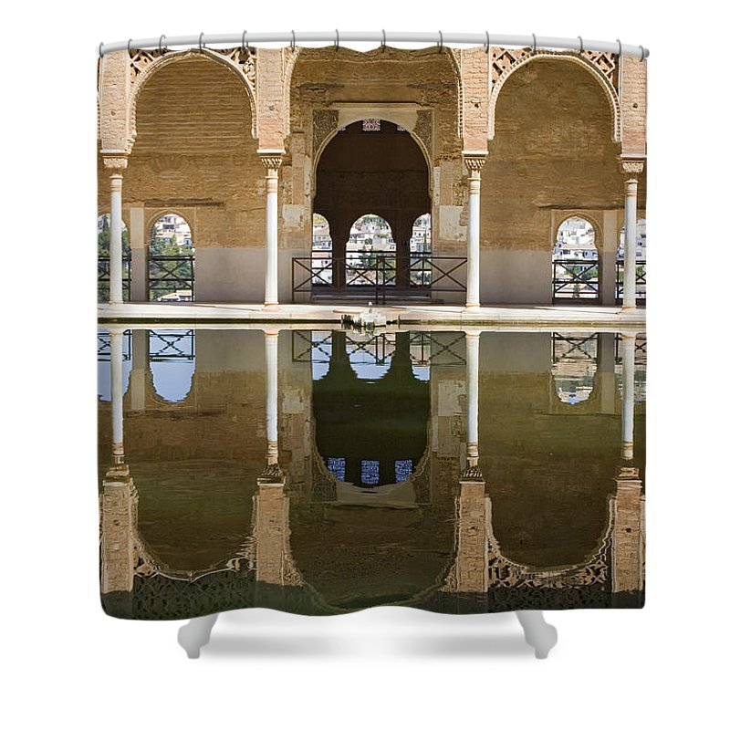 Moorish Shower Curtain featuring the photograph Nasrid Palace Arches Reflection At The Alhambra Granada by Mal Bray