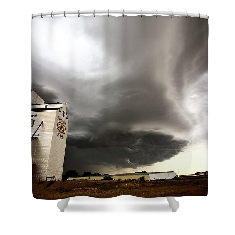 Grain Elevator Shower Curtain featuring the digital art Nasty Looking Cumulonimbus Cloud Behind Grain Elevator by Mark Duffy