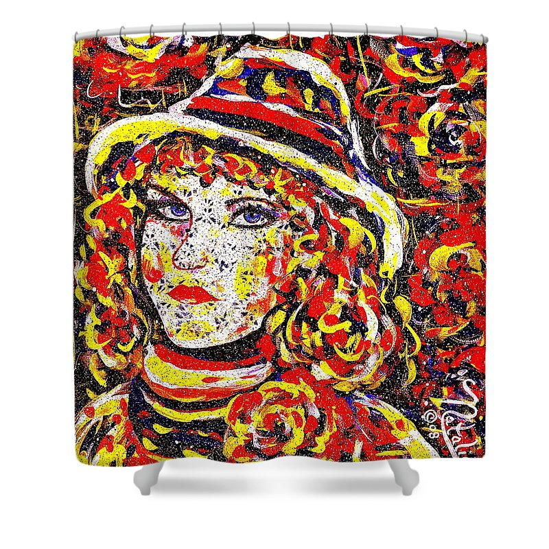 Woman Shower Curtain featuring the painting Nat With The Hat by Natalie Holland