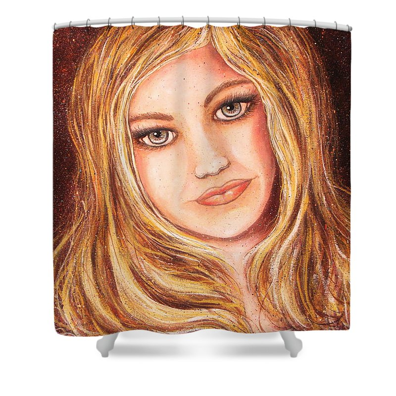 Self Portrait Shower Curtain featuring the painting Natalie Self Portrait by Natalie Holland