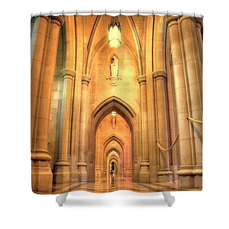 Church Shower Curtain featuring the photograph National Cathedral by Mitch Cat