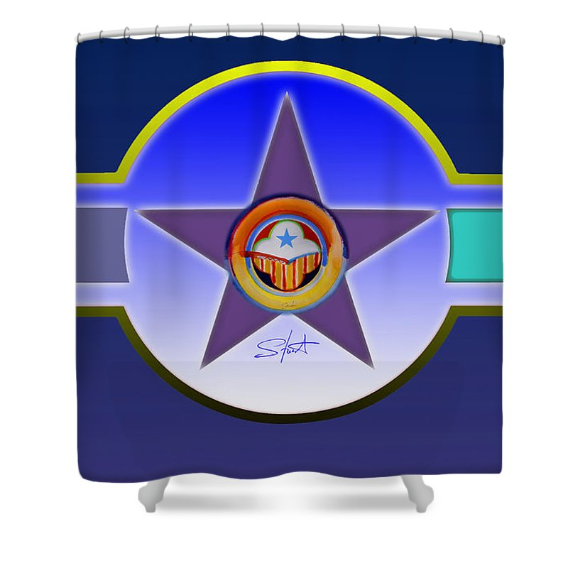 Insignia Shower Curtain featuring the painting Native American Landscape by Charles Stuart