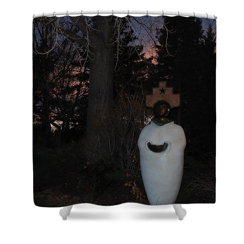 Trees Shower Curtain featuring the photograph Native American Sculpture At The State Capital by Rob Hans