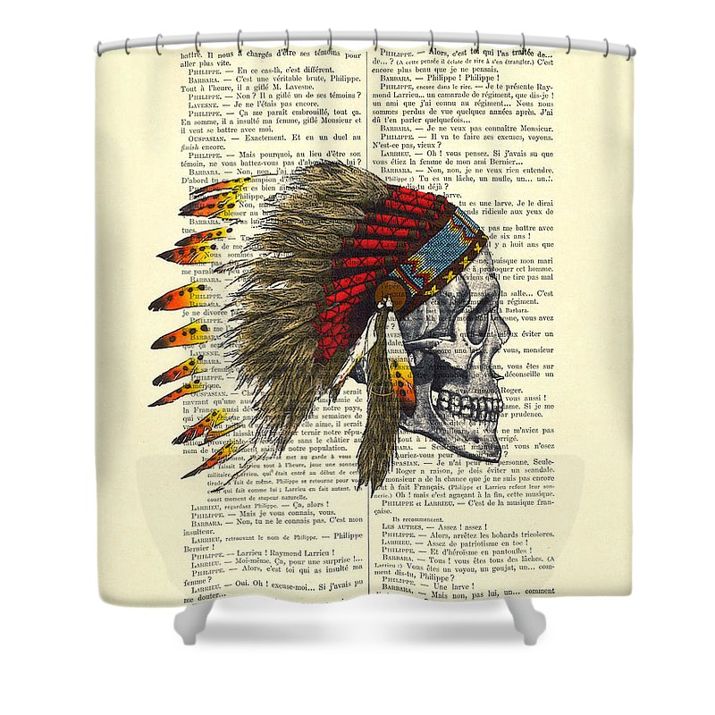 Native American Shower Curtain featuring the digital art Native American Skull by Madame Memento