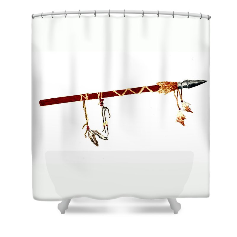 Native American Shower Curtain Featuring The Painting Spear With Feathers By Michael Vigliotti