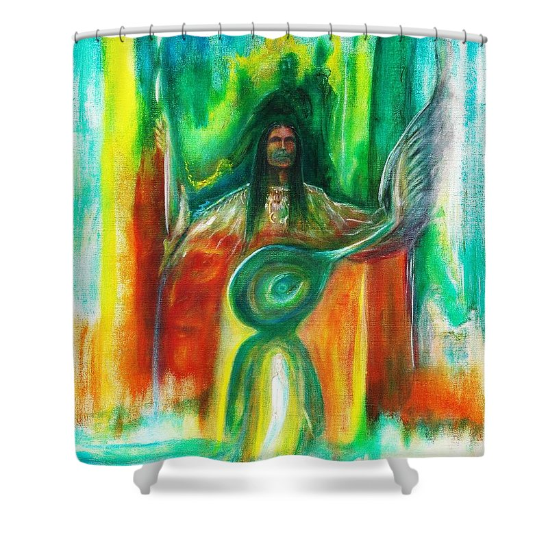 Native American Shower Curtain featuring the painting Native Awakenings by Kicking Bear Productions