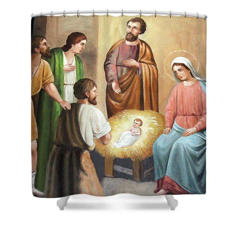 Nativity Shower Curtain Featuring The Photograph Scene Painting At Church By Munir Alawi