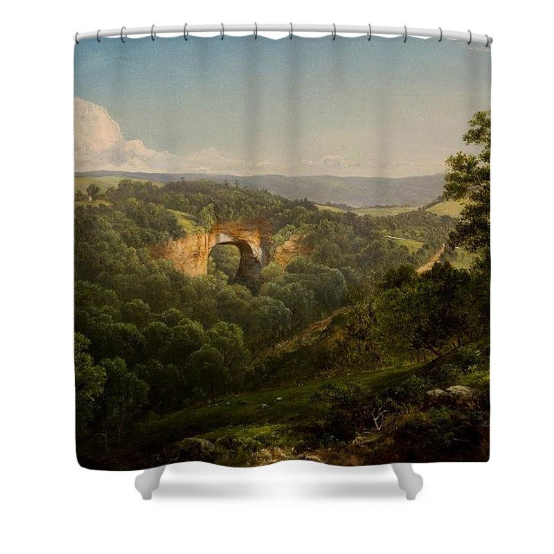 Natural Bridge Shower Curtain featuring the painting Natural Bridge by MotionAge Designs