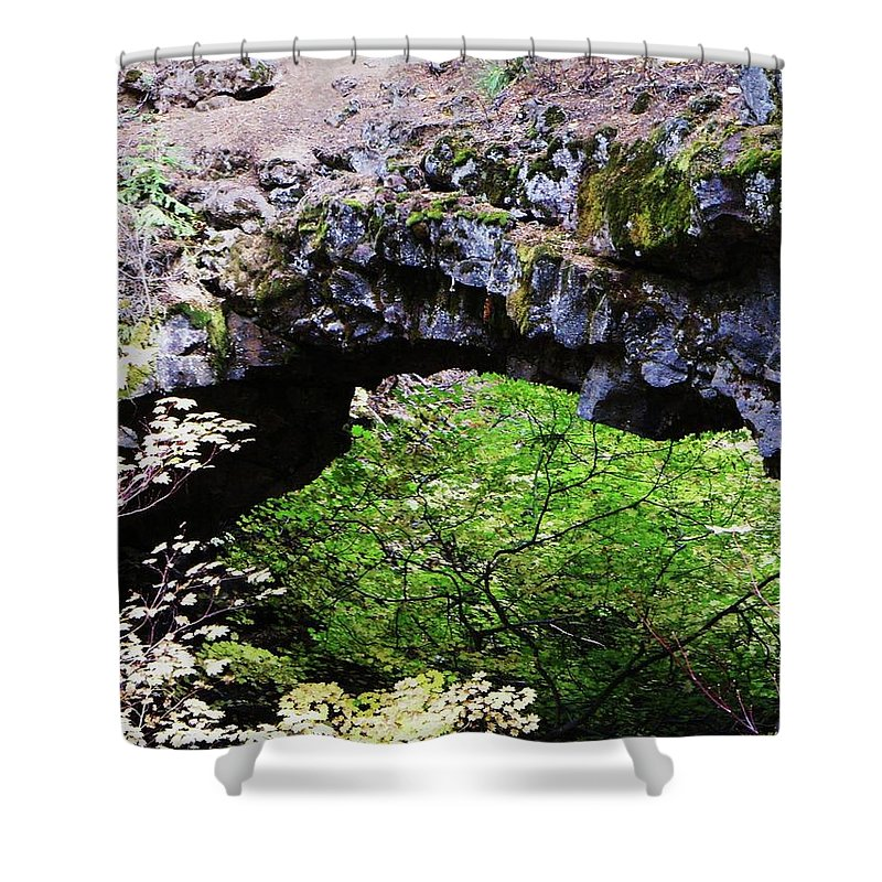 Rocks Shower Curtain featuring the photograph Natural Bridge by Jeff Swan