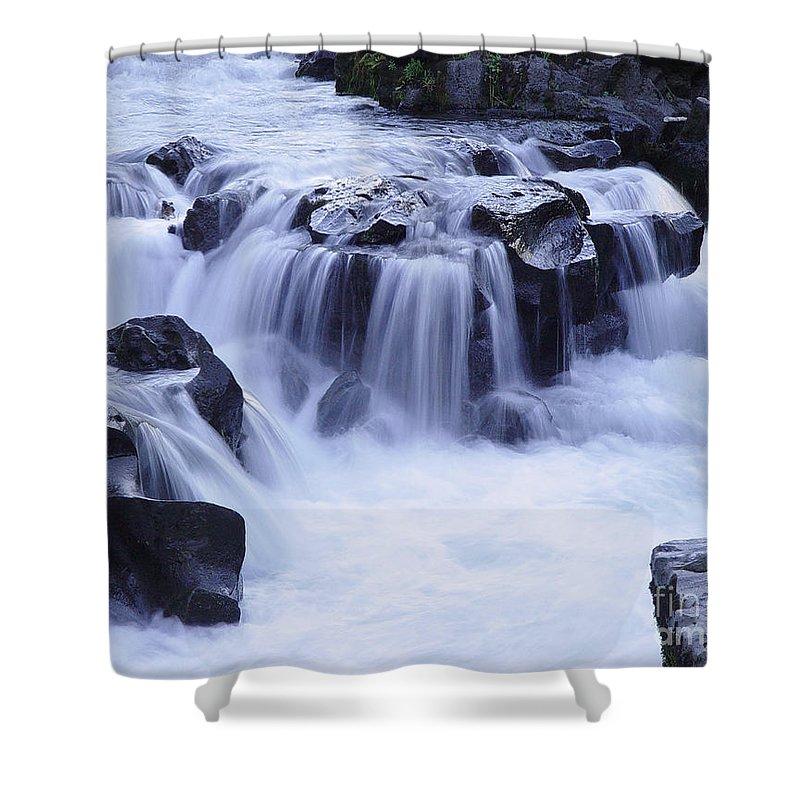 Waterfall Shower Curtain featuring the photograph Natural Bridges Falls 01 by Peter Piatt