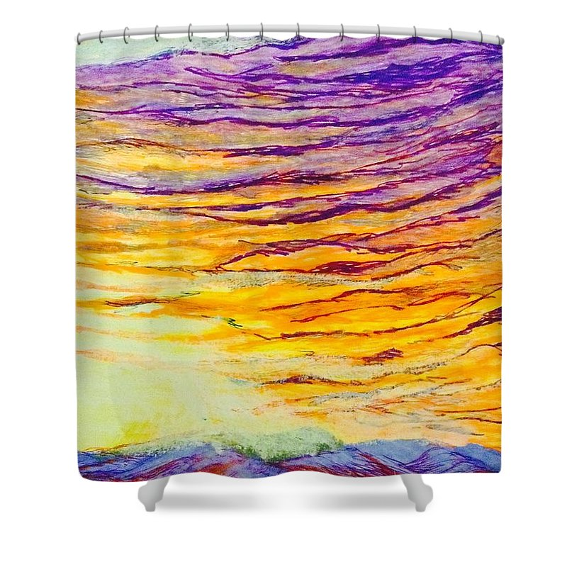 Prints Shower Curtain featuring the drawing Nature Fireworks On The 4th Of July by Ishy Christine MudiArt Gallery