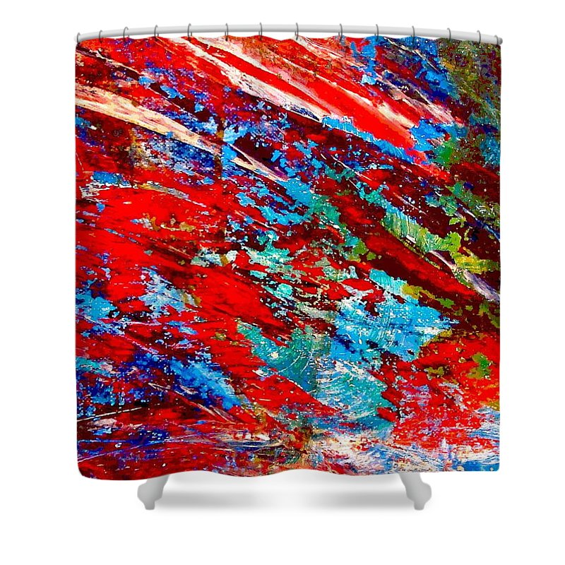 Abstract Shower Curtain featuring the painting Nature Harmony by Natalie Holland