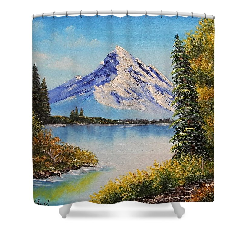 Nature Landscape Shower Curtain featuring the painting Nature Landscape by Nadine Westerveld
