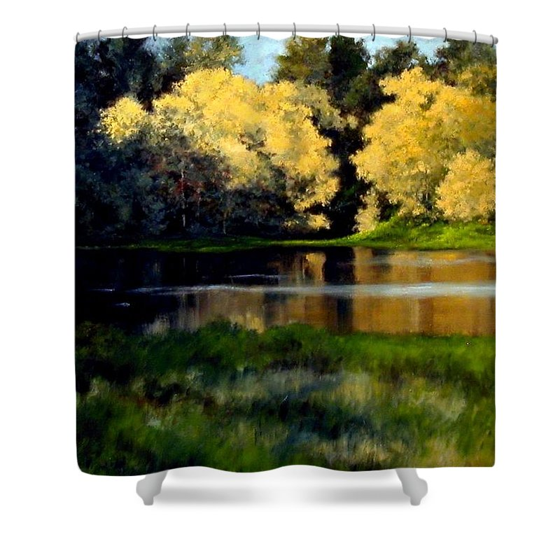 Landscape Shower Curtain featuring the painting Nature Walk by Jim Gola