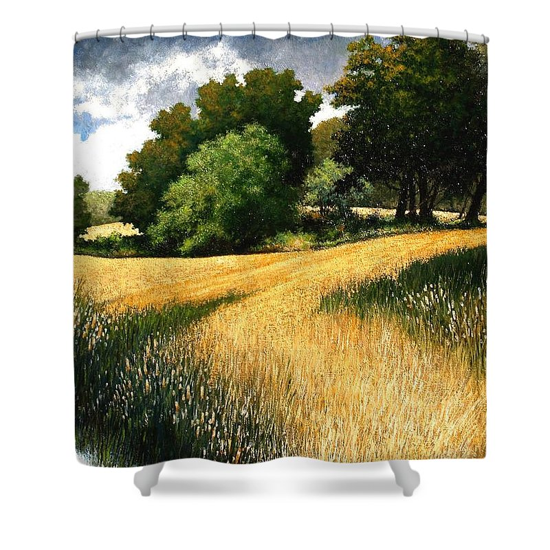 Landscape Shower Curtain featuring the painting Nature Walk Ridgefield Washington by Jim Gola