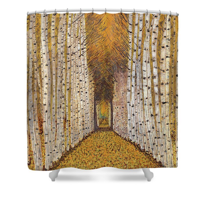 Golden Aspen Trees Shower Curtain featuring the painting Nature's Cathedral by Koni Webb Bosch