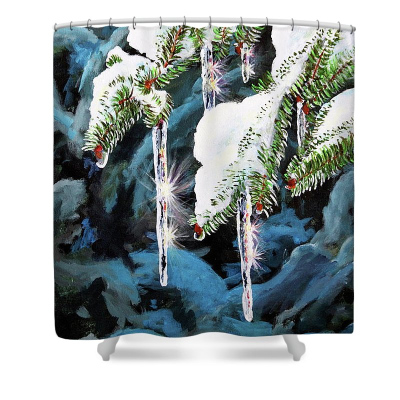 Icicles Shower Curtain featuring the painting Nature's Decorations by Lorraine Vatcher
