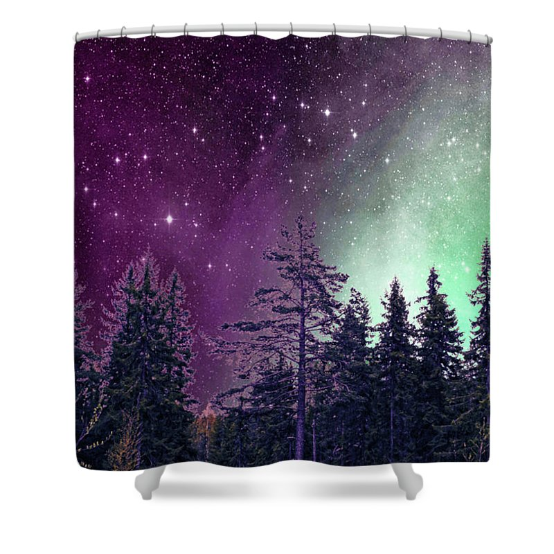 Forest Shower Curtain featuring the mixed media Natures Magic by Veronica Gudmundson